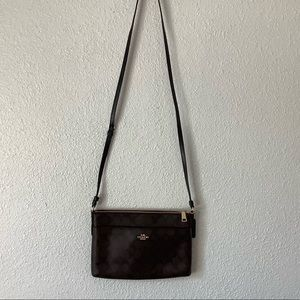Coach Bags - Coach brown leather and black monogram bag